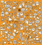 Stor Halloween samling i svartvitt vektor illustrationer