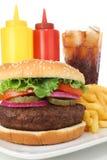 den stora hamburgaren steker ketchupsenapsodavatten Arkivfoto