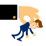 Den stora handen lyftte en mycket liten affärsman i luften stock illustrationer