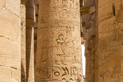 Den stora Hypostyle Hallen med sandstenkolonnerna arkivbild