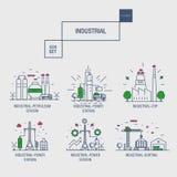 Den stora industriella symbolsuppsättningen med designbeståndsdelar gasar, oliv, rengöring, Royaltyfri Bild