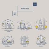 Den stora industriella symbolsuppsättningen med designbeståndsdelar gasar, oliv, rengöring, Royaltyfri Fotografi