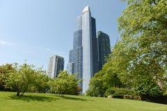 Den stora Ivy Lawn på det The Field museet parkerar och Chicago skyscrap royaltyfria bilder