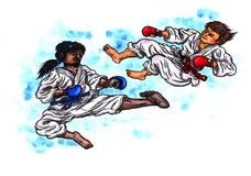 Den stora karatestriden makten av Karate-gör, 2017 Arkivbild
