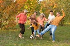 Den stora lyckliga familjen som spelar fotboll i höst, parkerar arkivbilder
