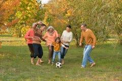 Den stora lyckliga familjen som spelar fotboll i höst, parkerar royaltyfri foto
