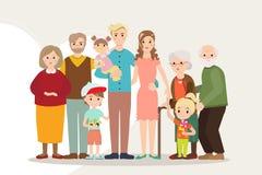 Den stora lyckliga familjståenden uppfostrar med det rörelsehindrade barnet royaltyfri illustrationer