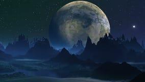 Den stora månen och den fallande stjärnan (ufon) stock illustrationer