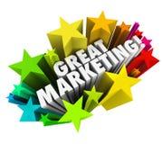 Den stora marknadsföringen uttrycker affärsadvertizingbefordran Arkivfoton