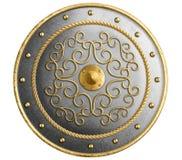 Den stora metallrundaskölden dekorerade den guld- isolerade illustrationen 3d royaltyfri bild