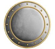 Den stora metallrundask?lden dekorerade den guld- isolerade illustrationen 3d arkivfoton