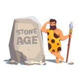 Den stora minnestavlan vaggar med den lutande grottmänniskan vektor illustrationer