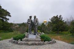Den stora monumentet till kejsaren Nicholas II och Lev Golitsyn Arkivbilder