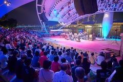 den stora natten för flickor för pojkekonsertfolkmassan ser för att sitta etappen till royaltyfri fotografi