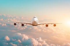 Den stora passagerarenivån med fyra motorer flyger i himlen på solnedgången royaltyfria foton