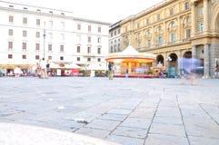 Den stora piazzadellaen Repubblica, Florence arkivfoto