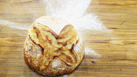 Den stora rundan släntrar av bröd på ett skrivbord Fotografering för Bildbyråer