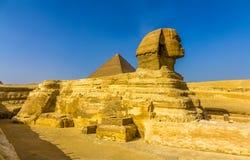 Den stora sfinxen och den stora pyramiden av Giza Royaltyfria Foton
