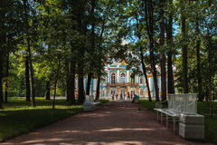 Den stora slotten av Tsarskoye Selo Catherine Chapel Church Resurrection royaltyfria foton