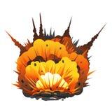 Den stora tecknade filmen bombarderar explosion Arkivbilder