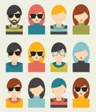 Den stora uppsättningen av avatarsprofilbilder sänker symboler Arkivbild