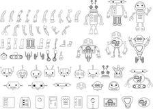 Den stora uppsättningen av den olika roboten särar i svartvitt Royaltyfri Foto