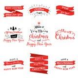 Den stora uppsättningen av glad jul och det lyckliga nya året förser med märke, och baner i plan design utformar Vektorillustrati stock illustrationer