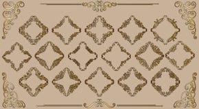 Den stora uppsättningen av guld- tappning utformade calligraphic ramar och komplex och utsökt garnering för krusidullar, för inbj vektor illustrationer