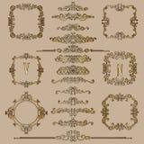 Den stora uppsättningen av guld- tappning utformade calligraphic ramar och komplex och utsökt garnering för krusidullar, för inbj stock illustrationer