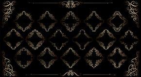 Den stora uppsättningen av guld- tappning utformade calligraphic ramar och komplex och utsökt garnering för krusidullar, för inbj royaltyfri illustrationer