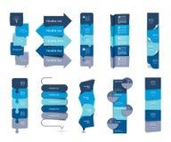 Den stora uppsättningen av steg-för-steg lodlinjetabeller för infographicsen, beståndsdelar, scheman, baner, kartlägger Arkivbild