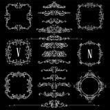 Den stora uppsättningen av tappning utformade calligraphic ramar och komplex och utsökt garnering för krusidullar, för inbjudan-  vektor illustrationer