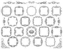 Den stora uppsättningen av tappning utformade calligraphic ramar och krusidullar vektor illustrationer