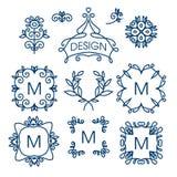 Den stora vektoruppsättningen av linjen beståndsdelar för den blom- designen för logoer, inramar och gränsar Royaltyfri Foto