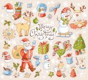 Den stora vektoruppsättningen av nytt år och jul anmärker symboler Arkivbilder