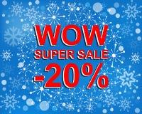 Den stora vinterförsäljningsaffischen med ÖVERRASKAR TOPPNA SALE NEGATIV 20 PROCENT text Advertizingvektorbaner Fotografering för Bildbyråer