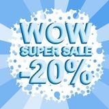 Den stora vinterförsäljningsaffischen med ÖVERRASKAR TOPPNA SALE NEGATIV 20 PROCENT text Advertizingvektorbaner Royaltyfri Foto