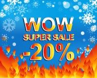 Den stora vinterförsäljningsaffischen med ÖVERRASKAR TOPPNA SALE NEGATIV 20 PROCENT text Advertizingvektorbaner Arkivbild