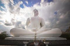 Den stora vita Buddhastatyn, Thailand Arkivfoton