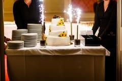 Den stora vita weddinkakan dekorerar solrosor nyckelpiga och fyrverkeri Royaltyfri Foto