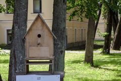 Den stora voljären från träplankor för fåglar i parkerar royaltyfri foto