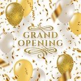 Den storslagna öppningen - blänka den guld- logoen med dekorativa beståndsdelar för krusidullar som omges av guld- foliekonfettie royaltyfri illustrationer