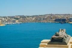 Den storslagna hamnen av Valletta, Malta arkivfoton
