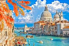 Den storslagna kanal- och BasilicaSanta Maria dellaen saluterar, Venedig, Italien Royaltyfria Foton