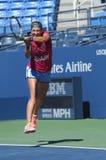 Den storslagna slamen för två gånger öva mästaren Victoria Azarenka för US Open 2013 på Arthur Ashe Stadium Arkivfoton