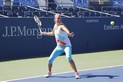Den storslagna slamen för två gånger öva mästaren Victoria Azarenka för US Open 2014 på Billie Jean King National Tennis Center Royaltyfri Foto