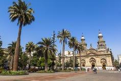 Den storstads- domkyrkan av Santiago, chili Arkivfoto