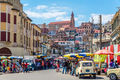 In den Straßen von Antananarivo Stockbild