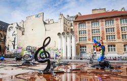 Den Stravinsky springbrunnen är en offentlig springbrunn Royaltyfri Foto