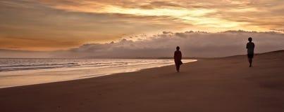 den suddighet stranden silhouettes två som går Fotografering för Bildbyråer